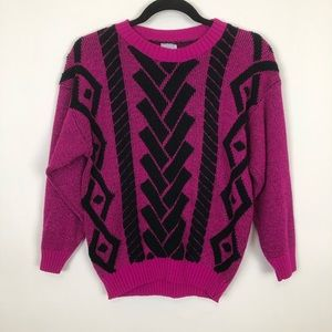 Vintage 90s  Pink Black Beaded Sweater Small